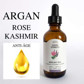 Huile Argan - Rose et Lavande du Cachemir - Argan Oil Rose and Kashmir Lavender- SAVON STORIES - ECOSPA COLLECTION