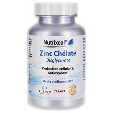Zinc Chélaté (bisglycinate), 60 gel végétales NUTRIXEAL