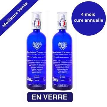 Magnésium transcutané Kit Cure Annuelle (2×200 ml) en Verre Noble
